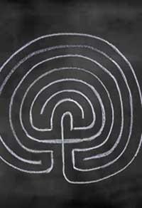 LABYRINTH DESIGN ON CHALK BOARD