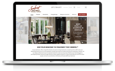 Sunburst Shutters - Website homepage