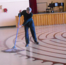 Dean mopping labyrinth