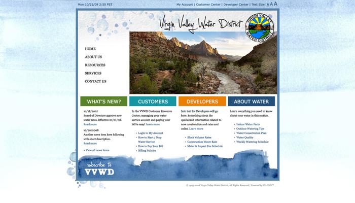 Virgin Valley Water District Website