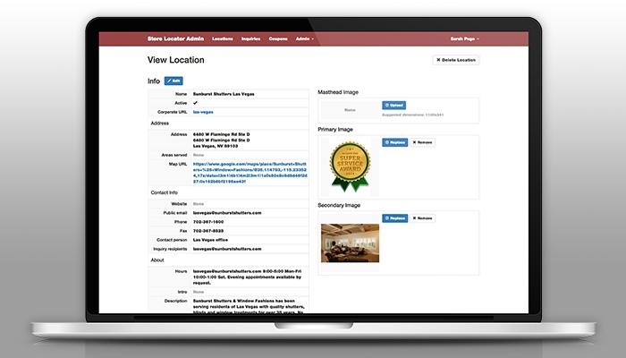 Sunburst Shutters Store Locator Web App