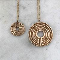 Bronze Labyrinth Pendants